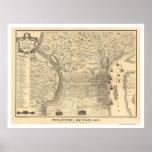 Mapa de Philadelphia como estaba en 1776 por Varte Poster