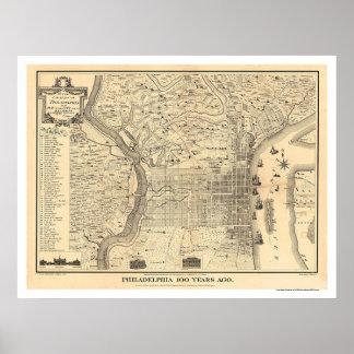 Mapa de Philadelphia como estaba en 1776 por Varte Póster