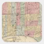 Mapa de Philadelphia de Mitchell Calcomanias Cuadradas