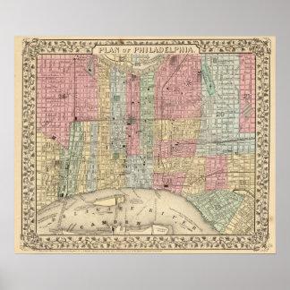 Mapa de Philadelphia de Mitchell Poster