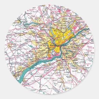 Mapa de Philadelphia Pegatina Redonda