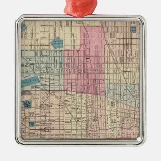 Mapa de Philadelphia, Pennsylvania Adorno Navideño Cuadrado De Metal