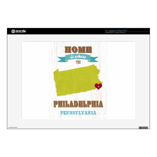 Mapa de Philadelphia, Pennsylvania - casero está d Skins Para Portátil