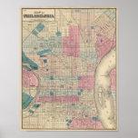 Mapa de Philadelphia, Pennsylvania Póster