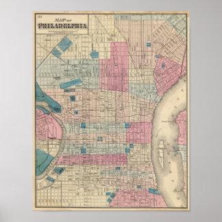 Mapa de Philadelphia Pennsylvania Posters