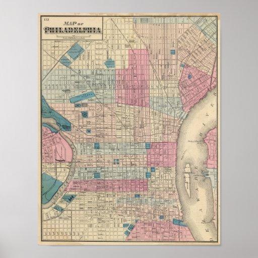 Mapa de Philadelphia, Pennsylvania Posters