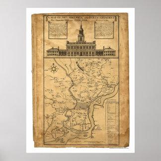 Mapa de Philadelphia y de las partes 1752 adyacent Impresiones
