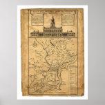 Mapa de Philadelphia y de las partes 1752 adyacent Póster