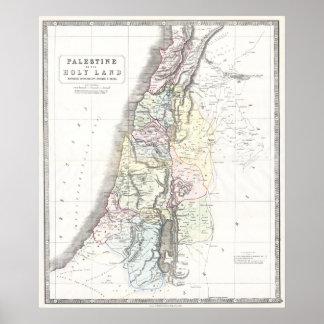 Mapa de Philip de las 12 tribus - con fecha de 185 Póster