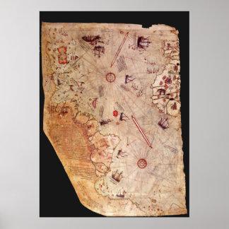 Mapa de Piri Reis Póster