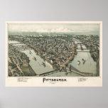 Mapa de Pittsburgh (cazador de aves) - 1902, BigMa Póster