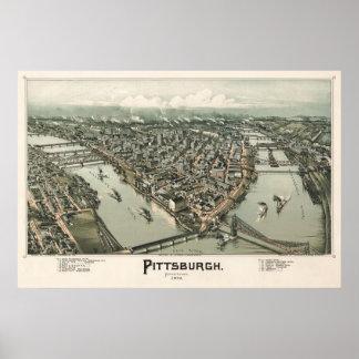 Mapa de Pittsburgh (cazador de aves) - 1902, Póster