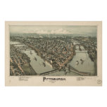 Mapa de Pittsburgh, Pájaro-Ojo View, 1902 Impresiones