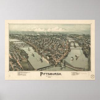Mapa de Pittsburgh, Pájaro-Ojo View, 1902 Póster