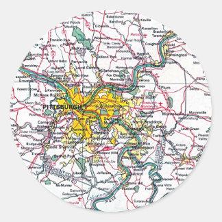 Mapa de Pittsburgh Pegatina Redonda