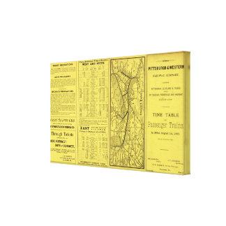 Mapa de Pittsburgh y del ferrocarril occidental Lona Envuelta Para Galerías