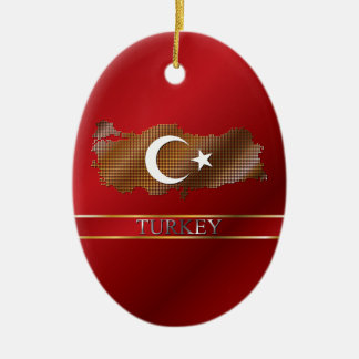 Mapa de pixel de Turquía y bandera turca Adorno Navideño Ovalado De Cerámica
