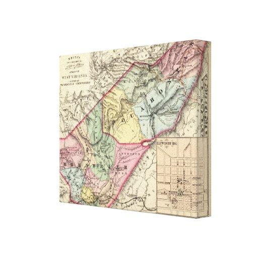 Mapa de Pocohontas, condados de Greenbrier Lona Estirada Galerias