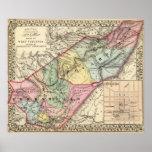Mapa de Pocohontas, condados de Greenbrier Impresiones