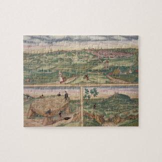 """Mapa de Poitiers, de """"Civitates Orbis Terrarum"""" b Puzzles"""