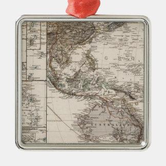 Mapa de Polinesia Adorno Cuadrado Plateado