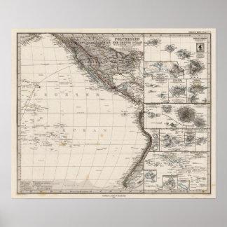 Mapa de Polinesia Poster