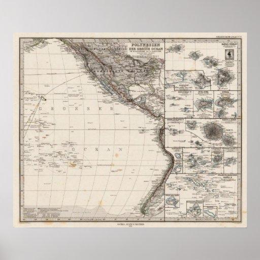 Mapa de Polinesia Póster