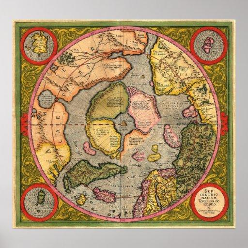 Mapa de Polo Norte de Mercator Impresiones