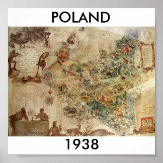 MAPA DE POLONIA 1938 PÓSTER