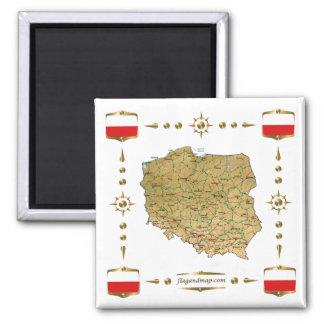Mapa de Polonia + Imán de las banderas