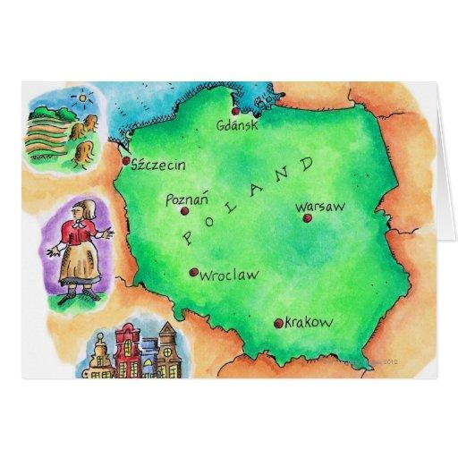 Mapa de Polonia Tarjeta De Felicitación