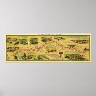Mapa de Pony Express de Guillermo Henry Jackson 18 Posters