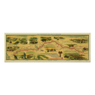 Mapa de Pony Express de Guillermo Henry Jackson 18 Póster