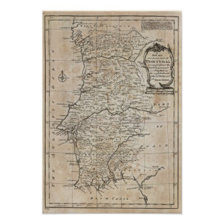 Mapa de Portugal Póster