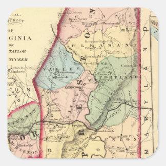 Mapa de Preston, Taylor, Barbour, condados de Pegatina Cuadrada