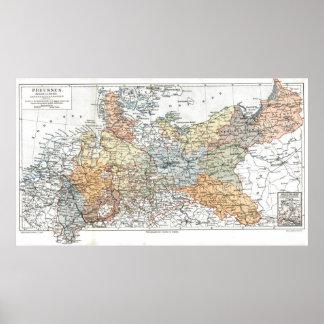 Mapa de Prusia Poster