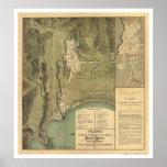 Mapa de Puerto Rico de Federico Drouyn 1888 Póster
