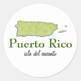 Mapa de Puerto Rico Etiqueta Redonda