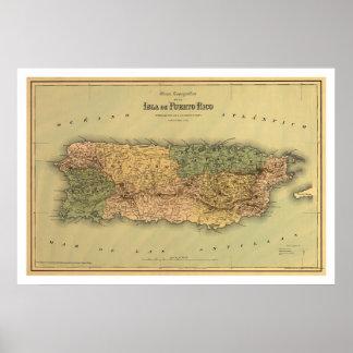 Mapa de Puerto Rico por Colton 1886 Póster