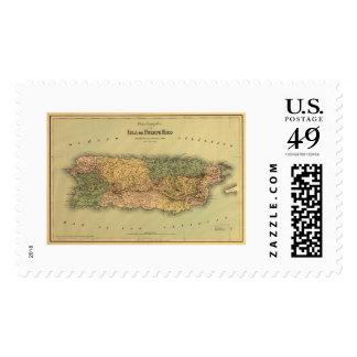 Mapa de Puerto Rico por Colton 1886 Sello