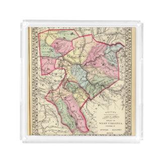Mapa de Putnam, Kanawha, condados de Boone Bandeja Cuadrada