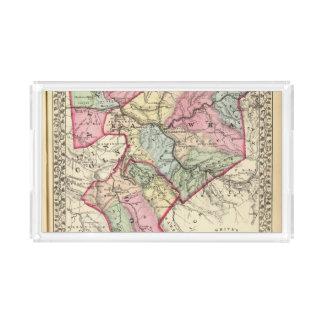 Mapa de Putnam, Kanawha, condados de Boone Bandeja Rectangular