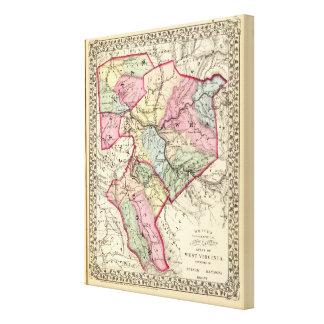 Mapa de Putnam, Kanawha, condados de Boone Lona Envuelta Para Galerías
