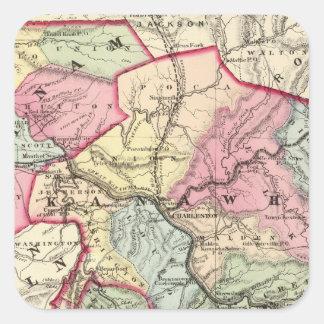 Mapa de Putnam, Kanawha, condados de Boone Pegatina Cuadrada