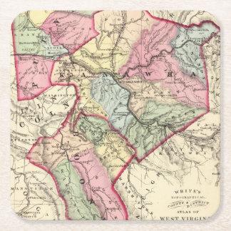 Mapa de Putnam, Kanawha, condados de Boone Posavasos Desechable Cuadrado