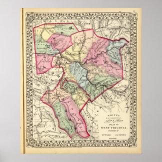 Mapa de Putnam, Kanawha, condados de Boone Póster