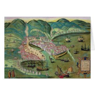 """Mapa de Quíos, de """"Civitates Orbis Terrarum"""" por G Tarjeta De Felicitación"""