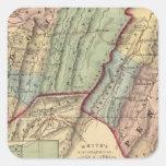 Mapa de Randolph, condados de Pendleton Pegatina Cuadrada