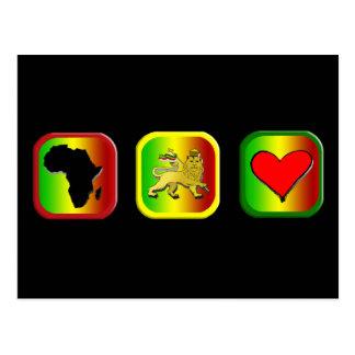 Mapa de Rasta de África un león del amor de Judah Tarjetas Postales