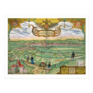 Mapa de Regensburg, de 'Civitates Orbis Terrarum Tarjetas Postales